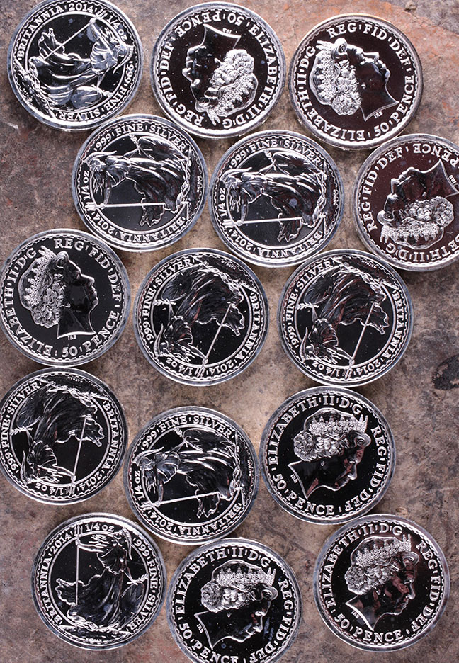 Figure 10. Silver bullion coins minted from metal salvaged from the SS Gairsoppa treasure ship.