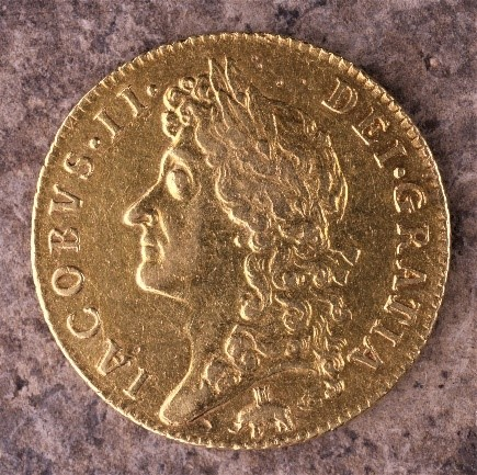 Figure 4. James II Guinea. The elephant logo beneath the bust shows that the gold was supplied by the Royal African Company.