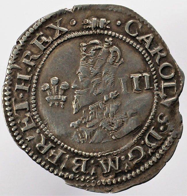 Figure 6. Charles I silver threepence minted in Aberystwyth from Welsh mined silver.